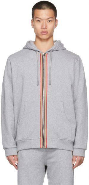Burberry Grey icon Stripe Zip Hoodie