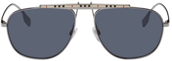 Burberry Gunmetal Aviator Sunglasses