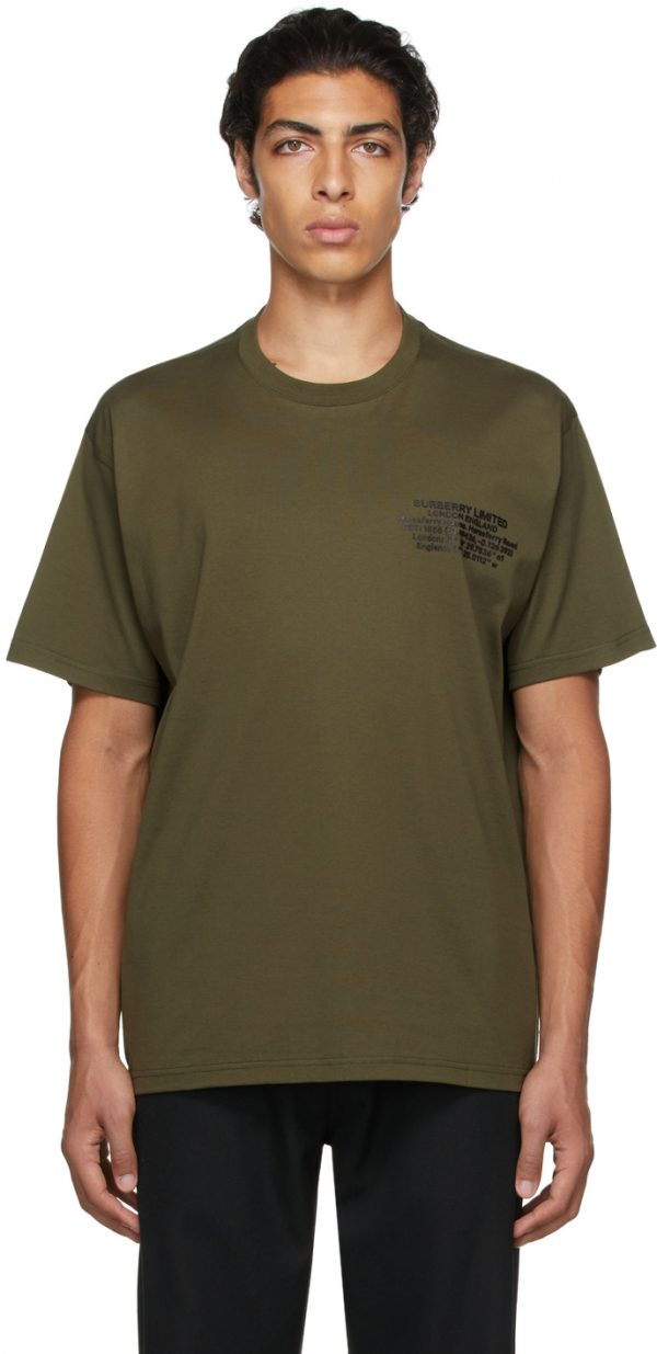 Burberry Khaki Oversized Location Print T-Shirt