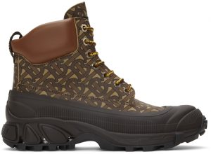 Burberry Leather Contrast Sole Monogram Print Lace-Up Boots