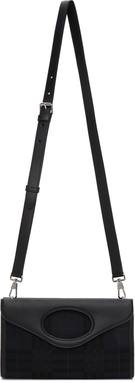Burberry Navy Check Foldover Pocket Bag
