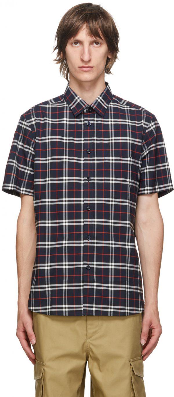 Burberry Navy Check Simpson Short Sleeve Shirt