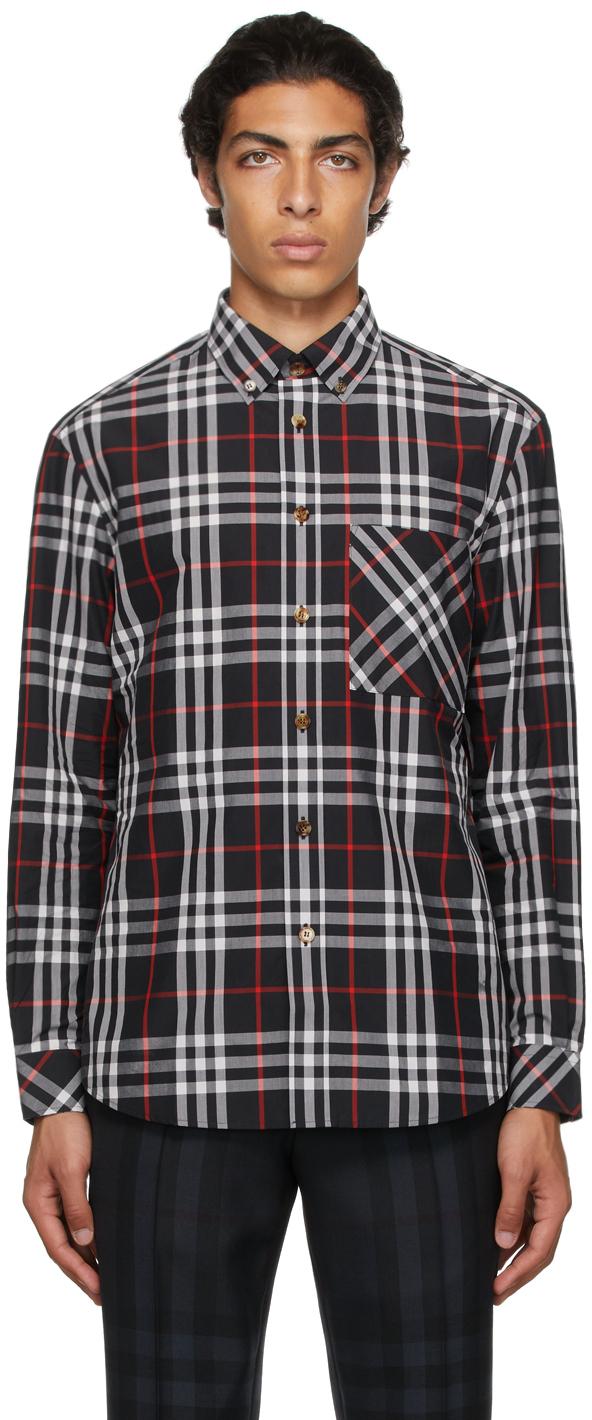 Burberry Navy Poplin Check Shirt