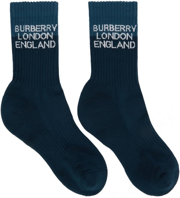 Burberry Navy Two-Tone Logo Intarsia Socks