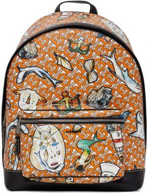 Burberry Orange E-Canvas TB Monogram Jett Backpack