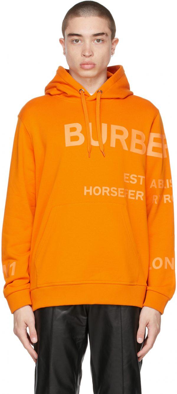 Burberry Orange 'Horseferry' Hoodie