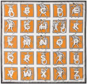 Burberry Orange Mythical Alphabet Square Scarf