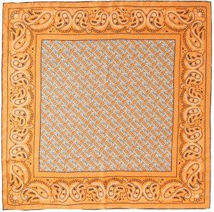 Burberry Orange Silk Paisley Monogram Square Scarf