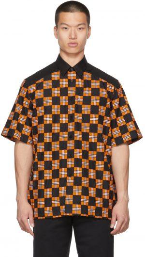 Burberry Orange & Black Check Tirley Short Sleeve Shirt