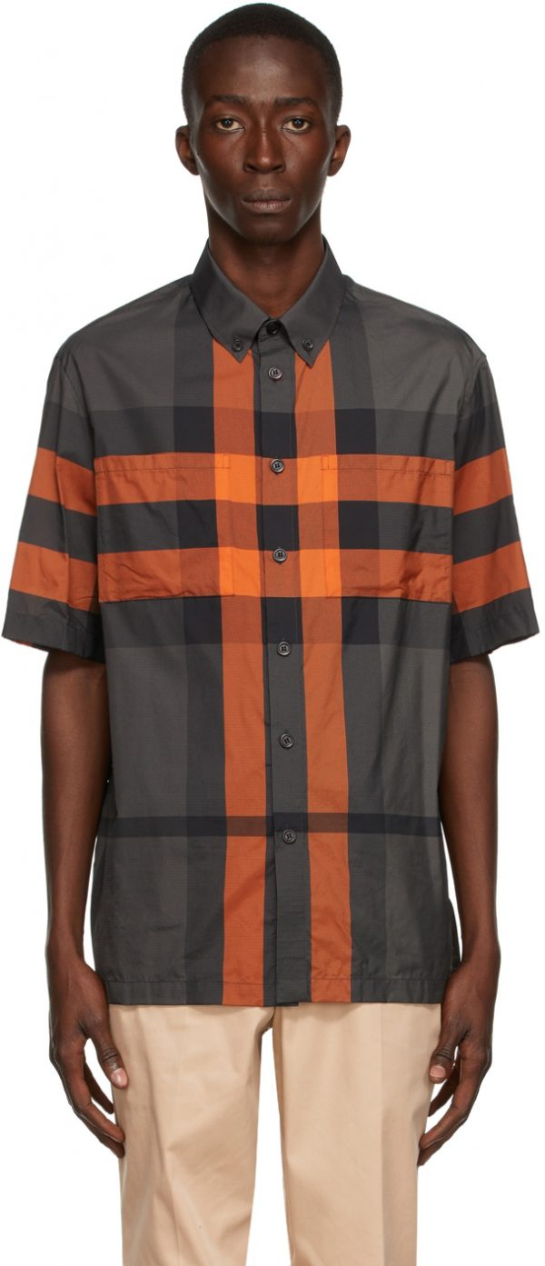 Burberry Orange & Grey Check Thames Short Sleeve Shirt