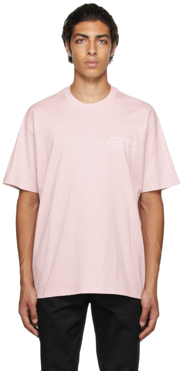 Burberry Pink Oversized Location Print T-Shirt