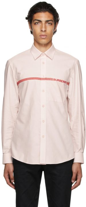 Burberry Pink Oxford Embroidered Logo Shirt