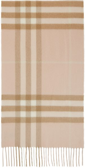 Burberry Pink & Beige Cashmere Classic Check Scarf