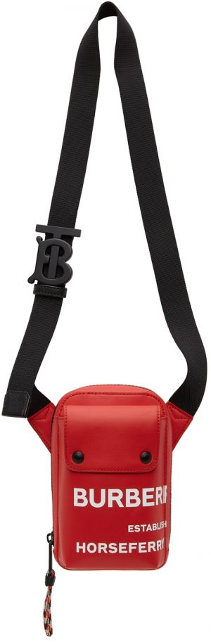 Burberry Red 'Horseferry' Jed Messenger Bag