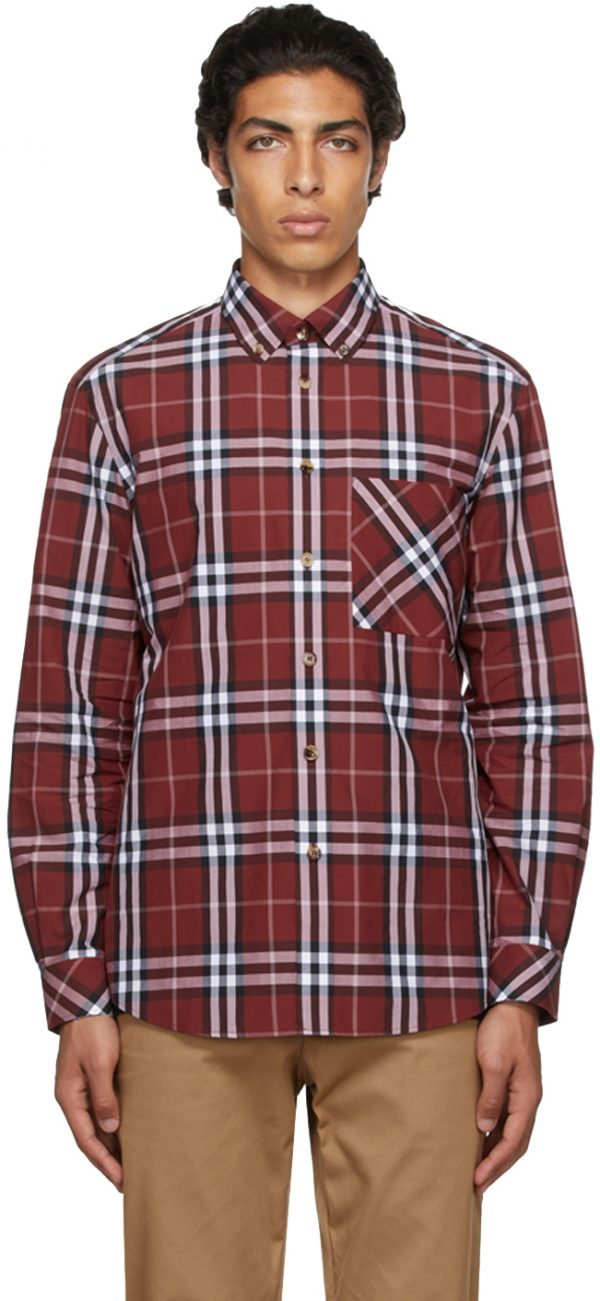 Burberry Red Poplin Check Shirt