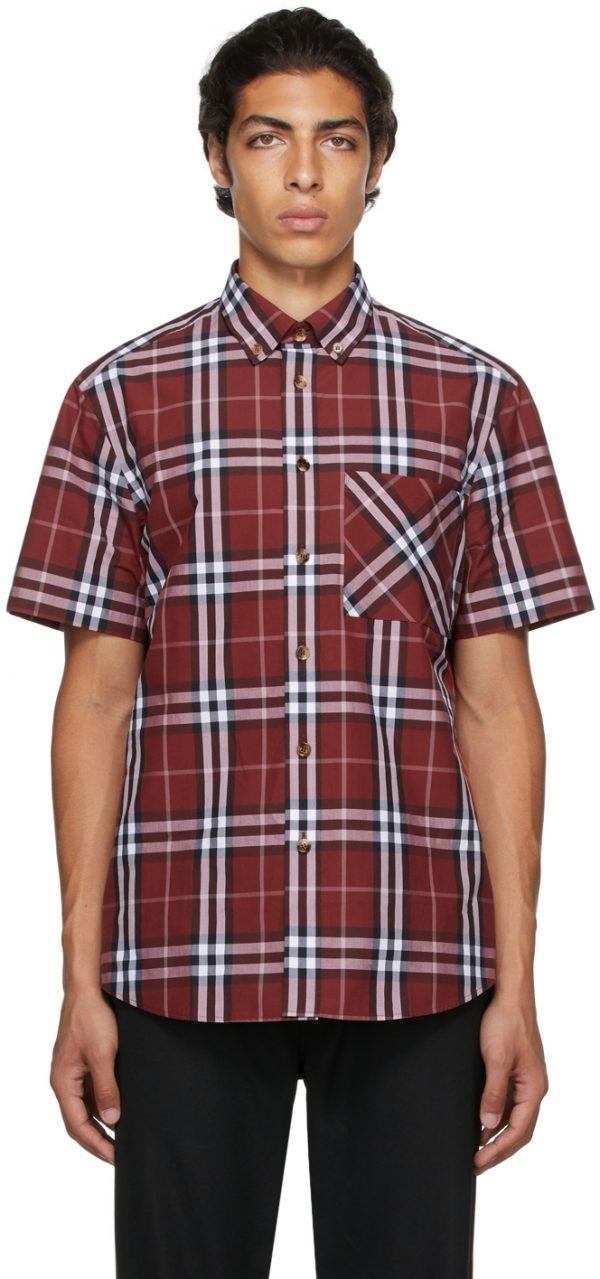 Burberry Red Poplin Check Short Sleeve Shirt