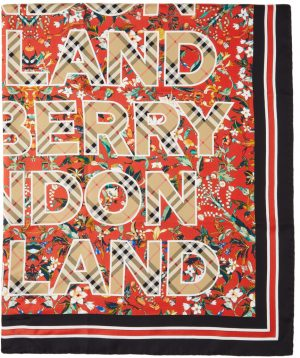 Burberry Red Silk Floral Logo Scarf