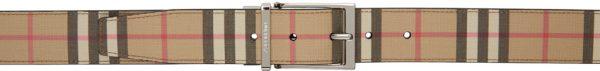 Burberry Reversible Beige & Black E-Canvas Leather Vintage Check Belt