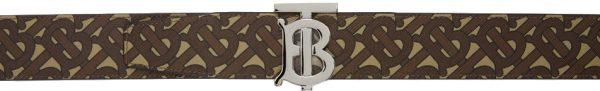 Burberry Reversible Brown & Black E-Canvas Monogram Belt