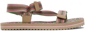 Burberry SSENSE Exclusive Pink & Green Patterson Flat Sandals
