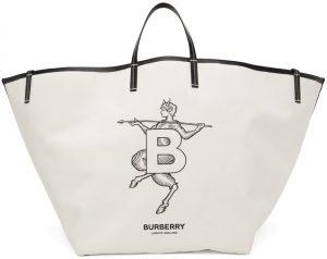 Burberry SSENSE Exclusive White Mythical Alphabet XL 'B' Faun Beach Tote