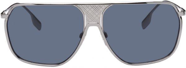 Burberry Silver Engraved Aviator Sunglasses