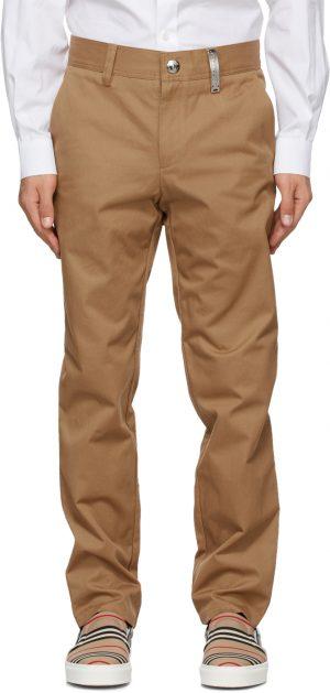 Burberry Tan Dover Logo Plaque Trousers
