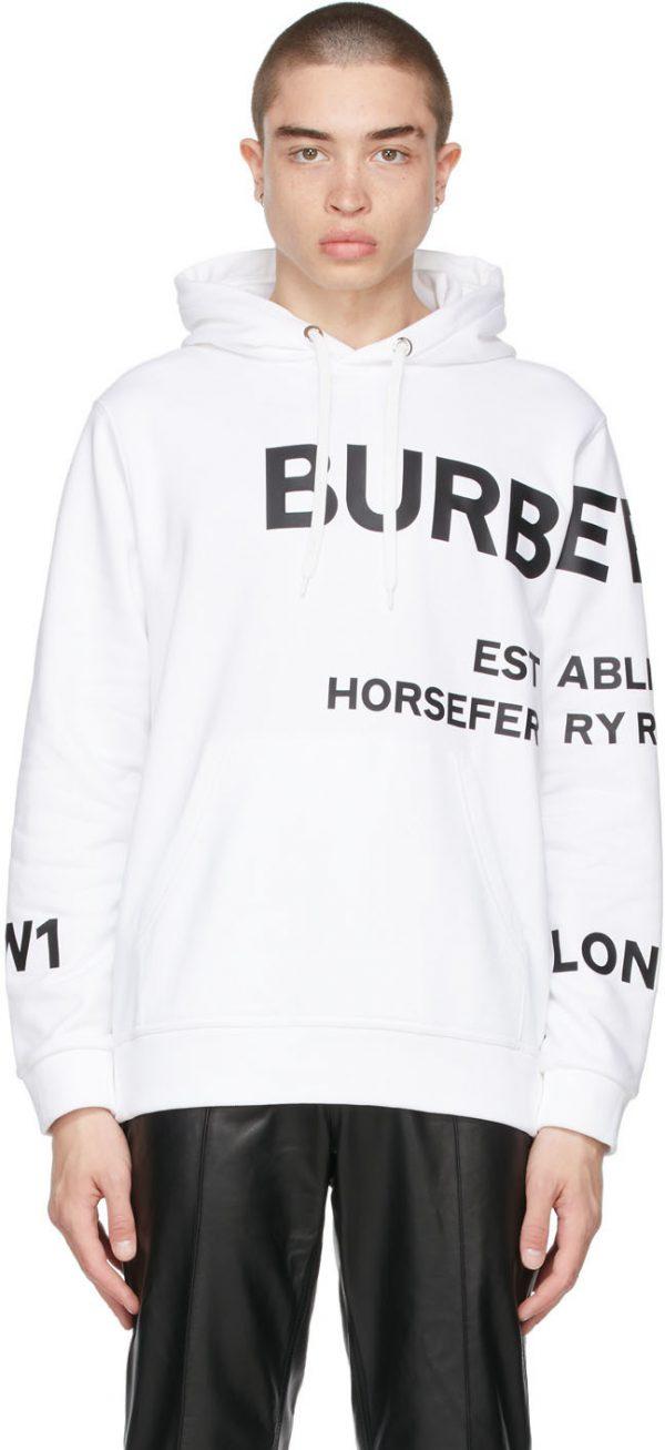 Burberry White 'Horseferry' Hoodie