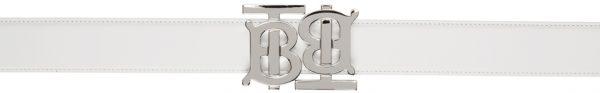 Burberry White Leather Double Monogram Belt