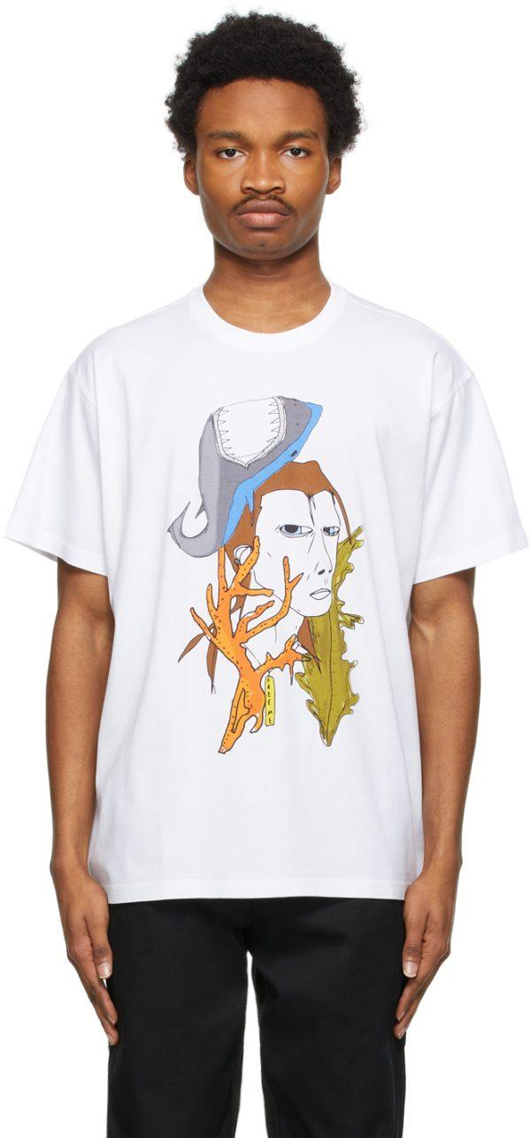 Burberry White Marine Sketch T-Shirt