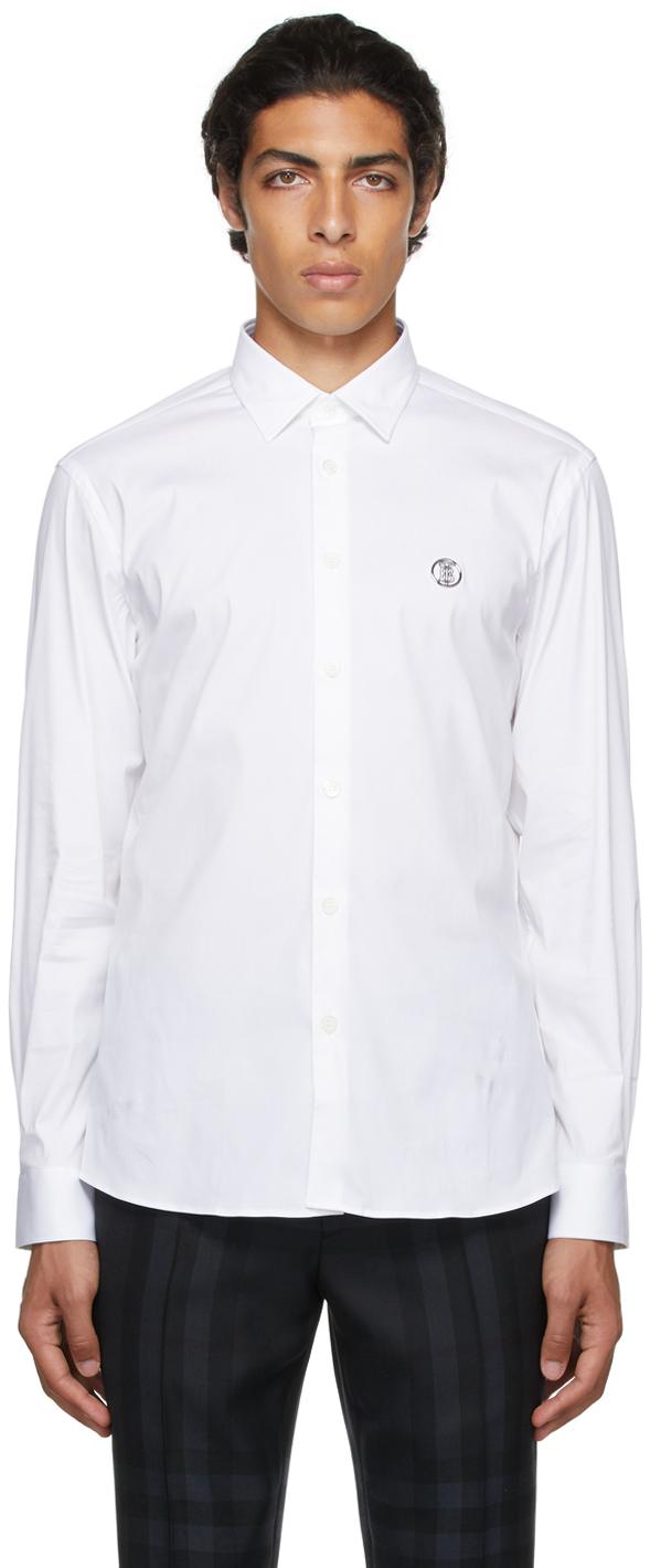 Burberry White Monogram Motif Oxford Shirt