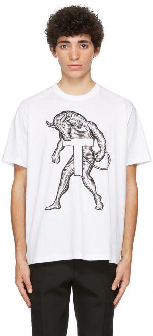 Burberry White Mythical Alphabet Large 'T' T-Shirt