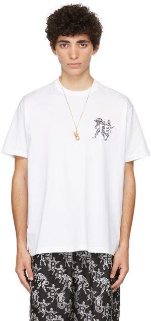 Burberry White Mythical Alphabet Small 'TB' T-Shirt
