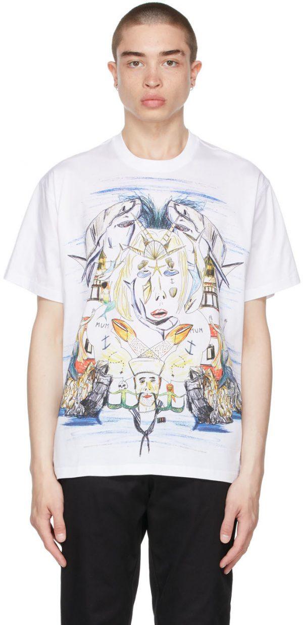 Burberry White Oversized Marine Sketch T-Shirt