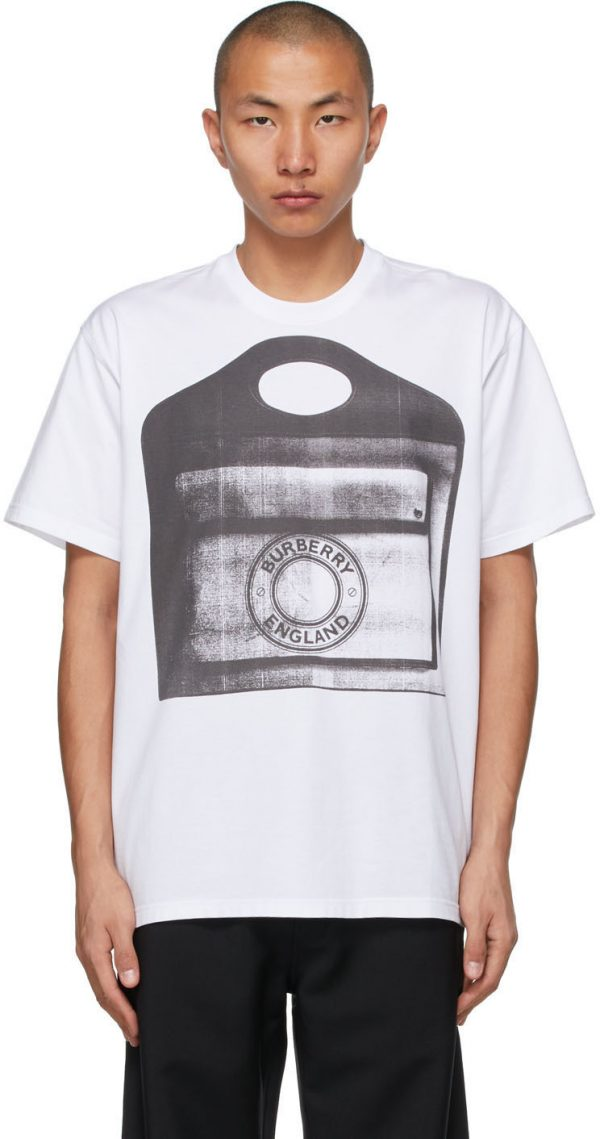 Burberry White Pocket Bag Print T-Shirt