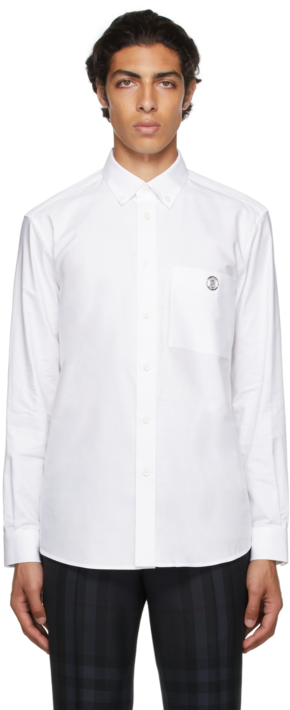 Burberry White Poplin Embroidered Monogram Motif Shirt