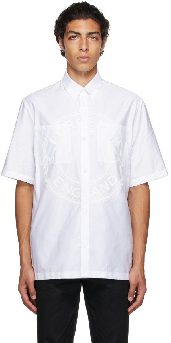 Burberry White Poplin Logo Short Sleeve Shirt
