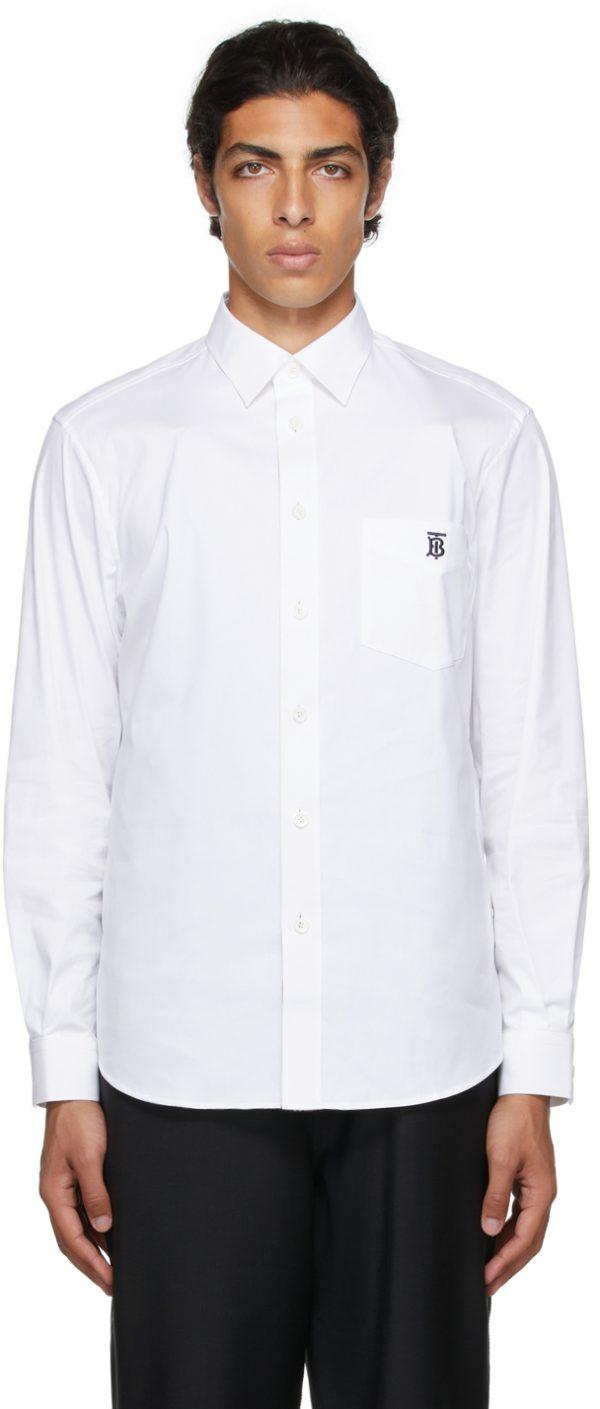Burberry White Poplin Monogram Motif Shirt