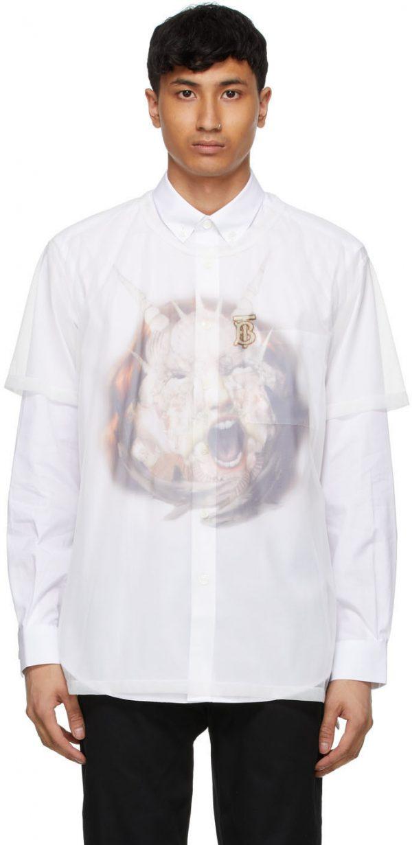 Burberry White Sheer Sea Maiden T-Shirt