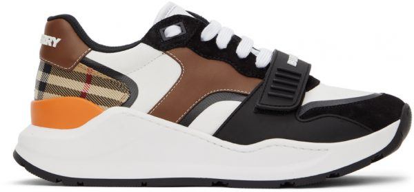 Burberry White & Black Vintage Check Ramsey Low Sneakers