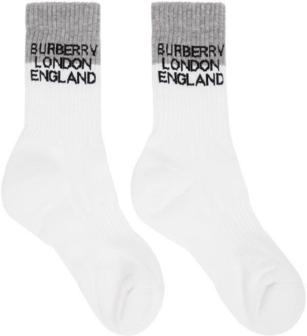 Burberry White & Grey Two-Tone Intarsia Logo Socks