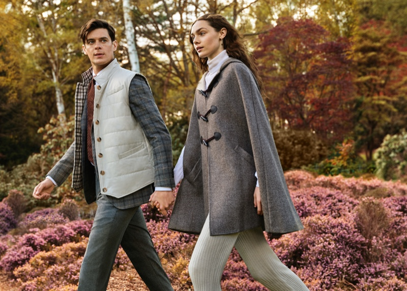 Out for a stroll, models Lewis Jamison and Sophia Roberts star in Daks' fall-winter 2021 campaign.