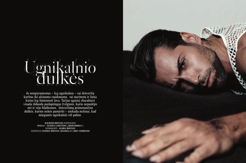 Daniele Carettoni Dons Black & White for L'Officiel Hommes Lithuania