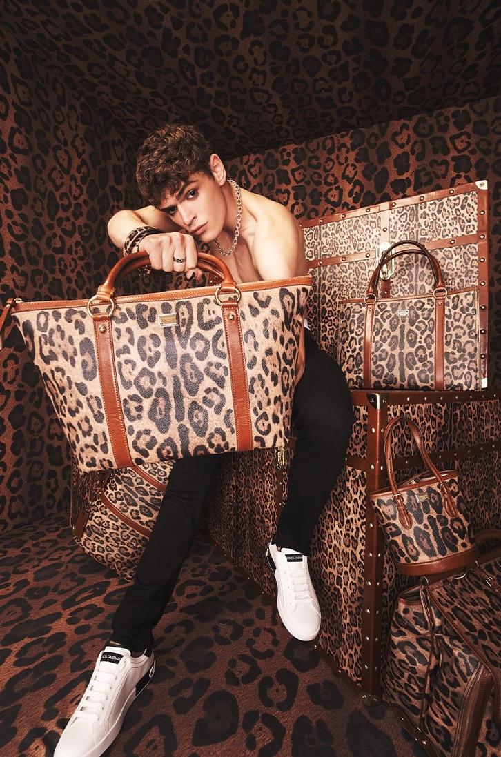 Dolce & Gabbana enlists model Mattia Giovannoni to showcase its leopard print Crespo Leo collection.