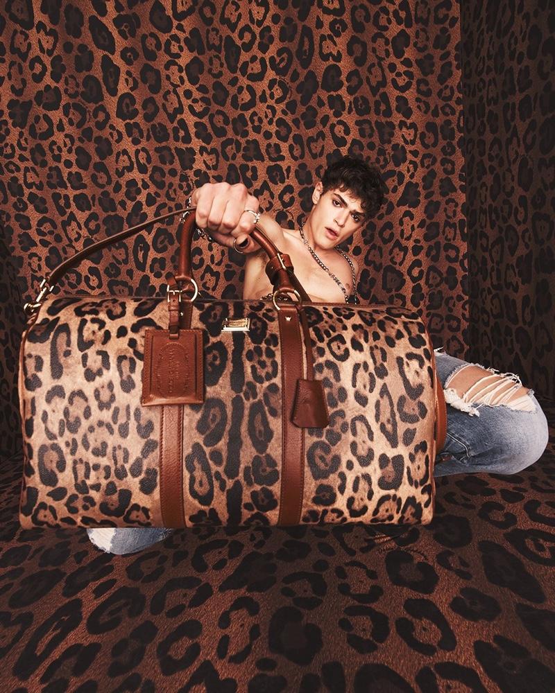 Model Mattia Giovannoni makes a leopard print statement with Dolce & Gabbana's new Crespo Leo collection.