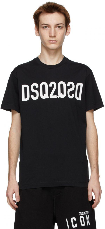 Dsquared2 Black Mirror Logo Cool T-Shirt