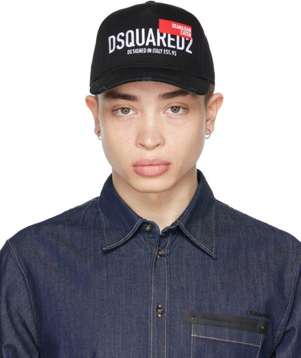 Dsquared2 Black & Red Tag Baseball Cap