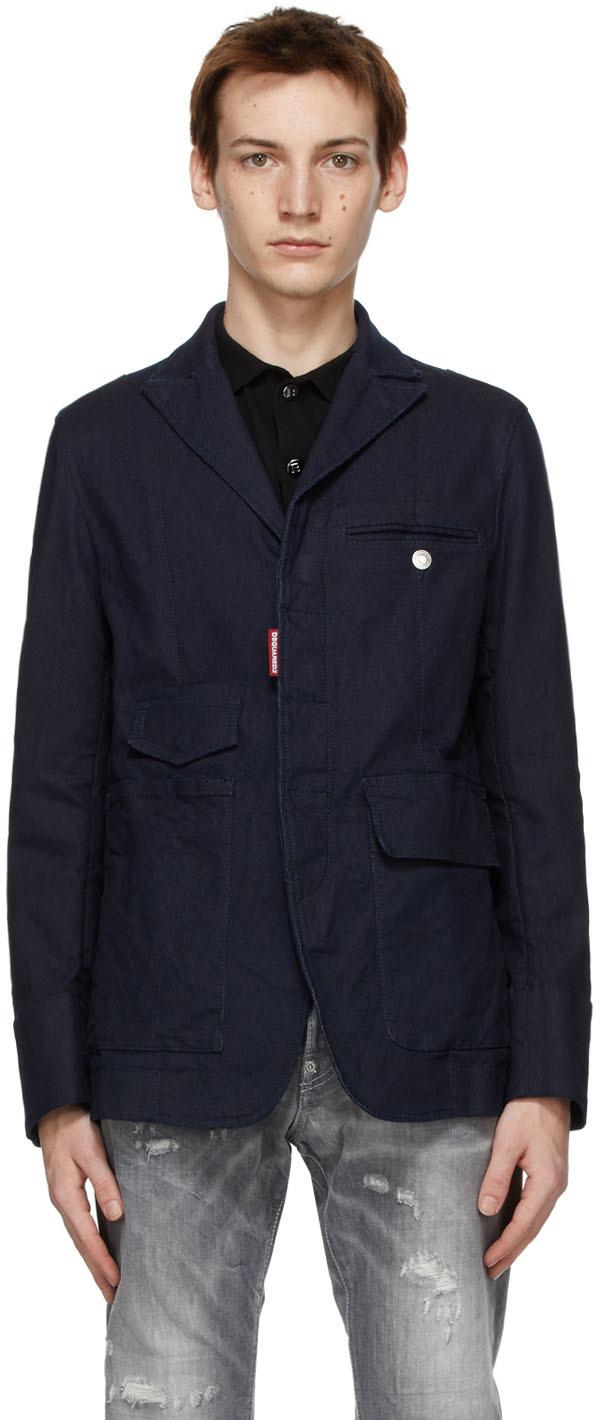 Dsquared2 Blue Aviator Jacket