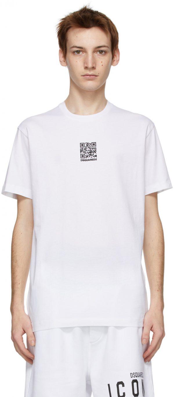 Dsquared2 White QR Code Cool T-Shirt