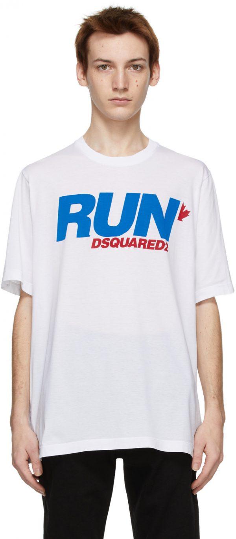 Dsquared2 White 'Run' Slouch T-Shirt